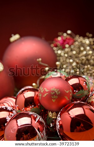 Christmas tree decorations with red background - stock photo