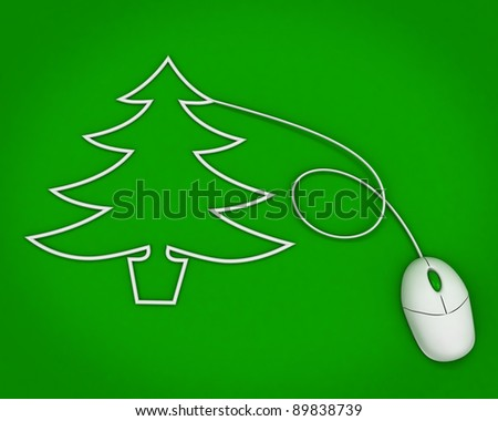 christmas tree depicted with computer mouse cable over green - stock photo