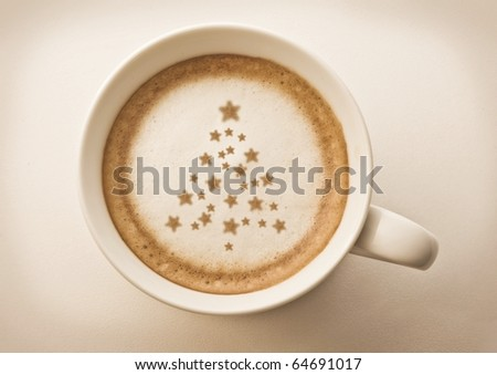 christmas tree , drawing on latte art coffee cup - stock photo