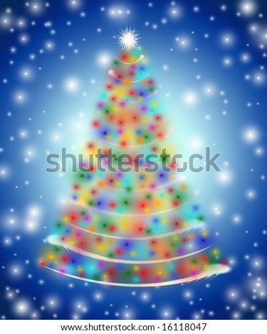 christmas tree drawn by white red yellow orange pink violet - Red White And Blue Christmas Lights