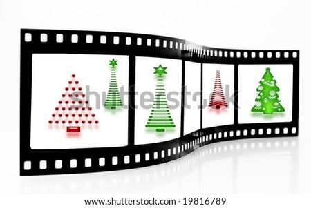 Christmas Tree Film Strip - stock photo