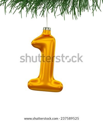 Christmas Tree Font: digit 1 isolated on white - stock photo