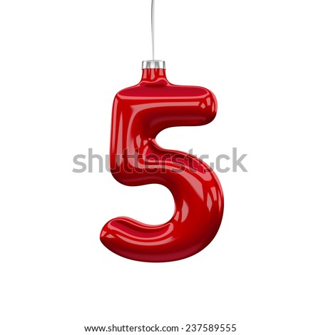 Christmas Tree Font: digit 5 isolated on white - stock photo