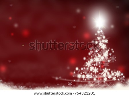 Christmas Tree Formed Starsred Background Snow Stock Illustration