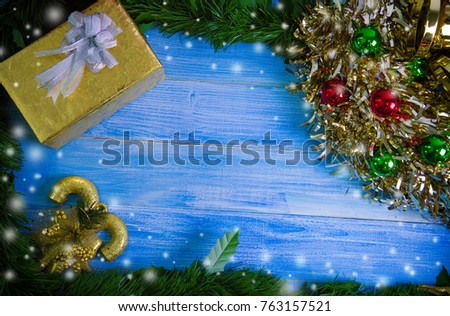 Christmas Tree Frame With Decorations On Blue Wooden Table Top View Flat Lay