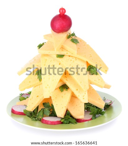 Christmas tree from cheese isolated on white - stock photo