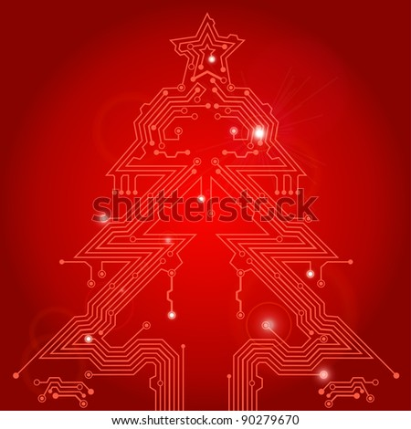 Christmas Tree from circuit board with Star, element for design, raster version - stock photo