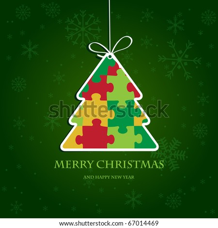 Christmas tree from jigsaw puzzle. Jpeg format - stock photo