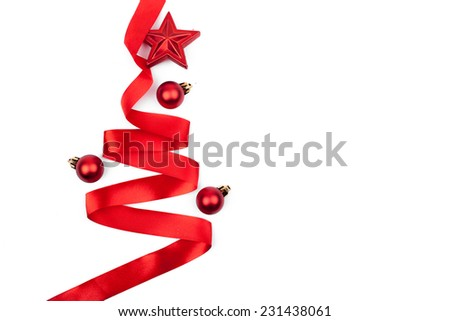 Christmas tree from ribbon isolated on white background - stock photo