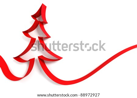Christmas tree from ribbons isolated on white background - stock photo