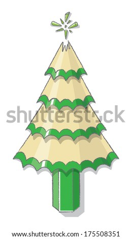 Christmas Tree from sharpened Green Pencil Shavings with Broken Lead for Star - Raster - stock photo