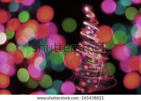 christmas tree from the color lights bulbs