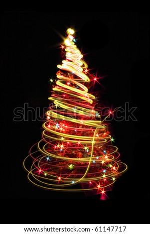 christmas tree from the color lights on the black background - stock photo