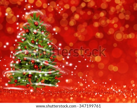 Christmas tree from the xmas lights (play with the light). Red bokeh background - stock photo