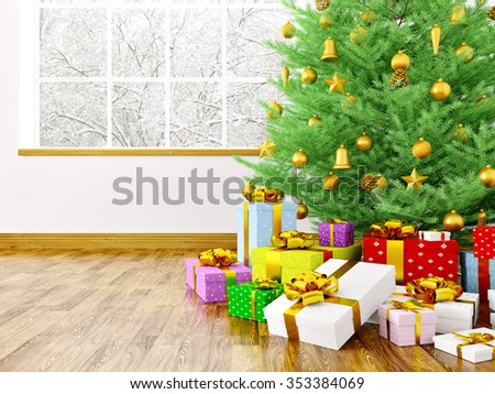 Christmas tree, golden baubles,gifts in a living room over window interior 3d rendering - stock photo