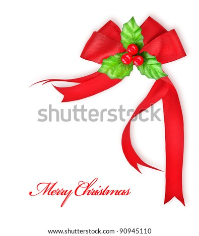 Christmas tree green border with big golden Santa's reindeer toy, hanging bauble,traditional ornament and decoration for winter holidays, isolated on white background, decorating home at Christmastime - stock photo