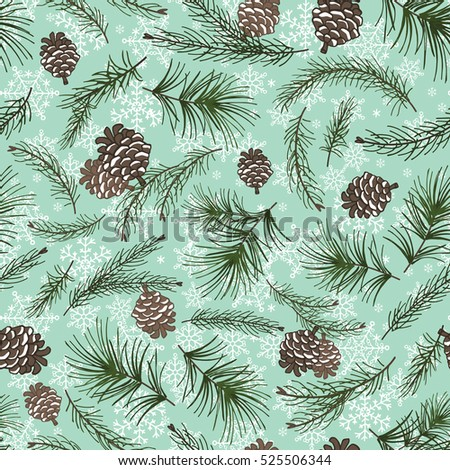 Christmas Tree Green Branchespine Cone In Seamless Pattern BackgroundVintage Illustration Fir
