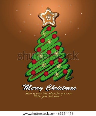 Christmas tree green, template card brown. Raster