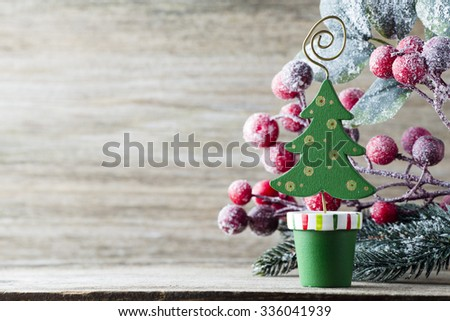 Christmas tree, greeting card. Decoration.