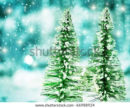 Christmas tree holiday background with winter ornament & abstract defocus lights decoration - stock photo