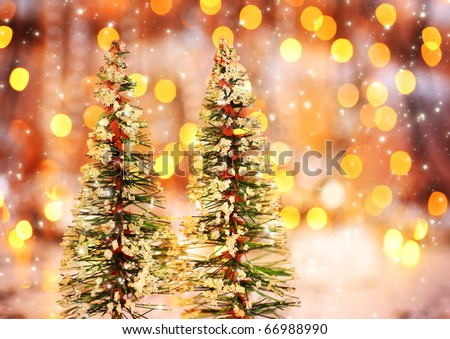 Christmas tree holiday background with winter ornament & abstract defocus lights decoration