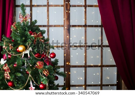 Christmas tree. Holiday decorations