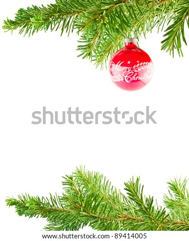 Christmas Tree Holiday Ornament Hanging from a Evergreen Branch Isolated - stock photo