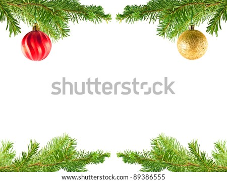 christmas tree holiday ornaments on an evergreen branch frame - An Evergreen Christmas