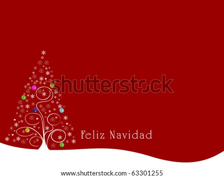 Christmas Tree Holiday Scene Feliz Navidad - stock photo