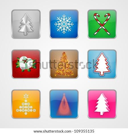 christmas tree icons for fun, pleasure - stock photo