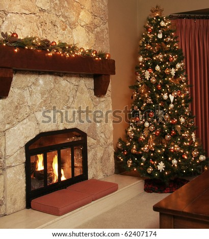 Christmas tree in a cozy livingroom. - stock photo