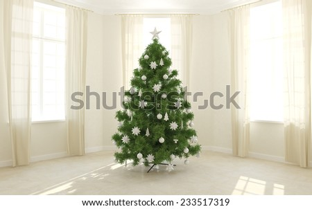 Christmas tree in a light room with windows - stock photo
