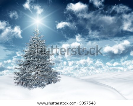 christmas tree in a snowy landscape - stock photo