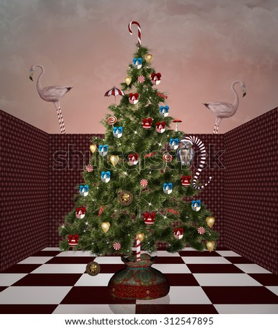 Christmas tree in a surreal room