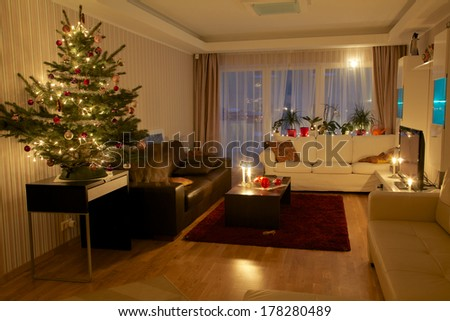 Christmas tree in beautiful modern apartment
