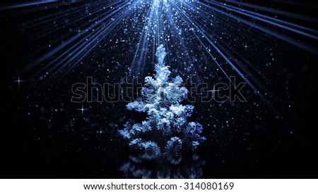 christmas tree in blue light rays  - stock photo