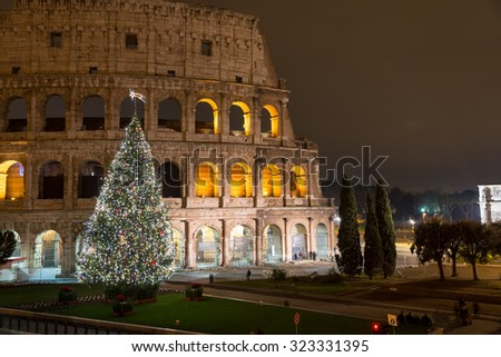 Christmas Tree in Colosseum square, Rome Italy - stock photo