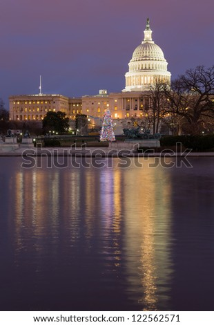 Christmas tree in early evening as sun setting over Washington DC