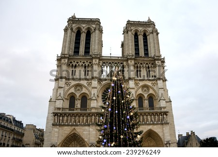 Christmas tree in front of the Notre Dame cathedral in cloudy day. Paris, France. - stock photo