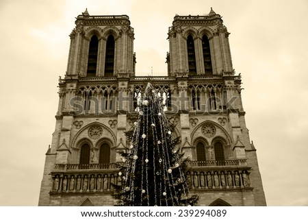 Christmas tree in front of the Notre Dame cathedral in cloudy day. Paris, France. Aged photo. Sepia. - stock photo