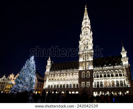 Christmas tree in Grand Place, Brussels, Belgium, 2014 - stock photo