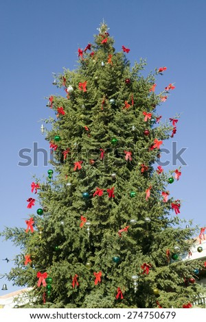 Christmas tree in historic Old Town of Albuquerque, New Mexico - stock photo