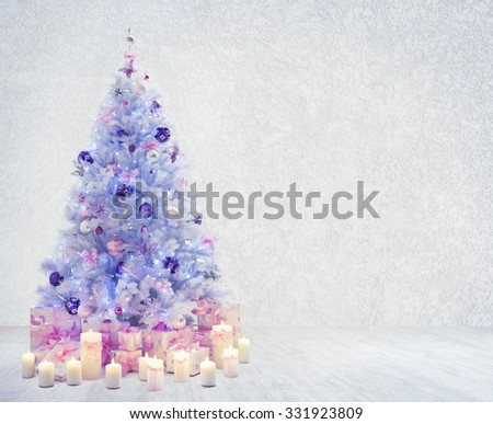 Christmas Tree in Interior Room, Xmas Tree on White Wood Floor and Wall, Presents Gifts - stock photo