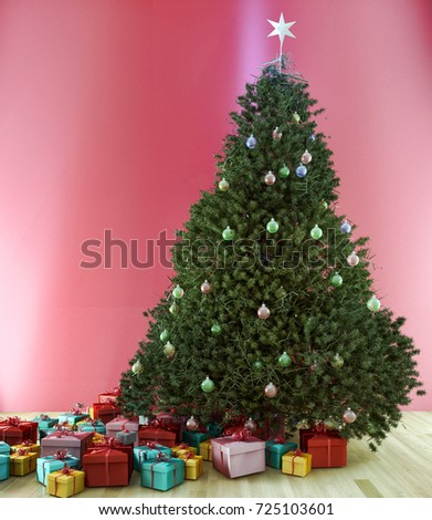 Christmas Tree Living Room 3 D Render Stock Illustration 725103601 ...