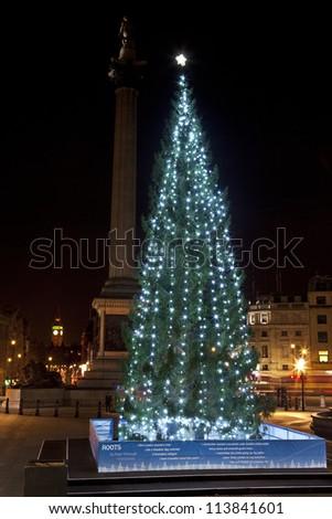 Christmas Tree in London's Trafalgar Square - stock photo