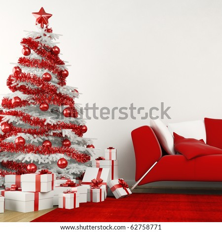 christmas tree in modern interior all in white and red colors - stock photo