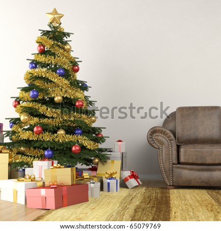 christmas tree in modern interior living room - stock photo