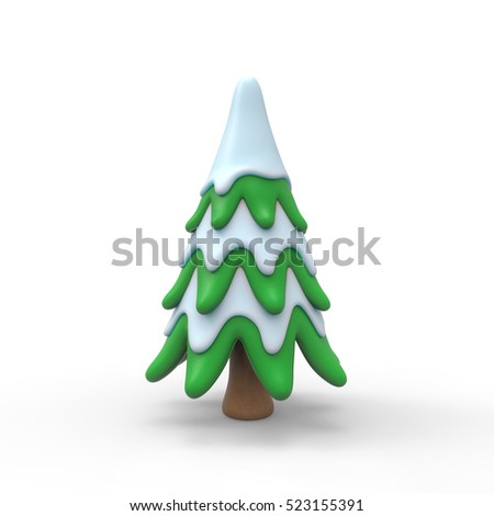 Christmas tree in snow 3d rendering isolated on white background