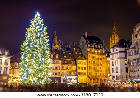 "Christmas tree in Strasbourg, ""Capital of Christmas"". 2014 - Alsace, France - stock photo"
