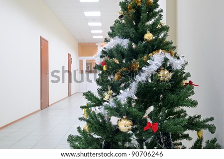 Christmas tree in the office. - stock photo